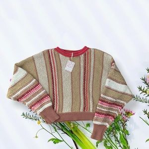 Free People Show Me Love Striped Cotton-Blend Swea